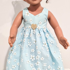 Pale Blue Daisies Princess Gown