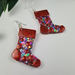 Stocking Rainbow Spot Glitter Christmas Button - Glitter Dangle earrings