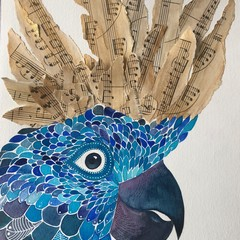 Musical Crown- original watercolour and collage