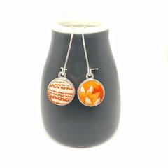 Double Sided Earrings - Fabric Button Kimono