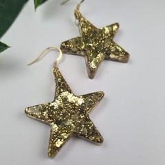 Gold Glitter Christmas Star - Button - Glitter Dangle earrings