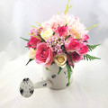 Artificial Pink Rose Flower Arrangement in Cream Watering Can - Christmas Gift
