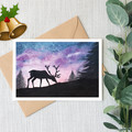 Christmas Reindeer Watercolour Artist Greeting Card, Blank or Message, A6 size