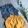MUSTARD FRILL SHORTS, sizes 1 - 5 available