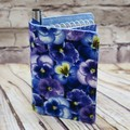 Blue Pansies Fabric Pocket Notepad Cover