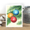 Christmas Baubles Watercolour Artist Greeting Card, Blank or Message, A6 size