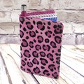 Hot pink leopard print Fabric Pocket Notepad Cover