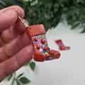 Stocking Rainbow Spot Glitter Christmas Button - Glitter Dangle earrings