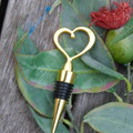 Wedding Heart Shaped Wine/Champagne Bottle Stoppers. Love Heart Gold Wedding