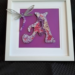 Baby Shower gift, Letter A, Personalised,  Paper Quilled
