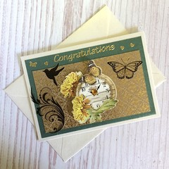 'Congratulations - Anniversary Wishes' Ivory Pearlised Card