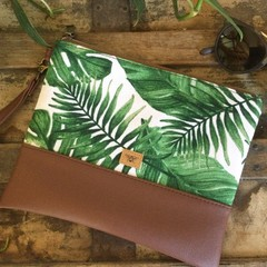 Flat Clutch - Monstera & Palm Leaves/Dk Brown Faux Leather