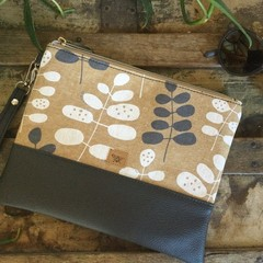 Flat Clutch - Beige with Grey & White Leaves/Grey Faux Leather
