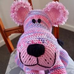 Layla: hand crocheted lion cub by CuddleCorner: OOAK, washable, pinks/purples