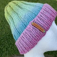 Pink ladies knitted winter beanie rainbow