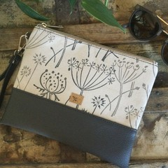 Flat Clutch - Queen Anne's Lace/Grey Faux Leather