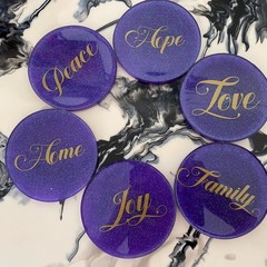 "Handmade Resin Coasters SET  ""Love words"" in Purple"