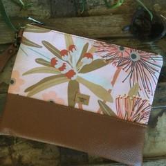 Flat Clutch - Gum Blossom/Tan Faux Leather
