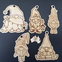 Christmas Gnomes Set B x 5 Gnomes - each side engraved. FREE Shipping