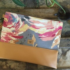Flat Clutch - Large Rose/Mustard Faux Leather
