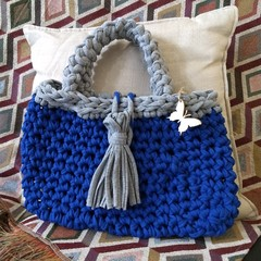 Blue & grey handbag