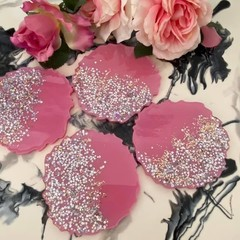 Handmade Resin Coasters SET  - Pink and silver