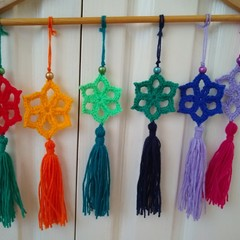 Set of 6 Crochet Star Christmas Decorations