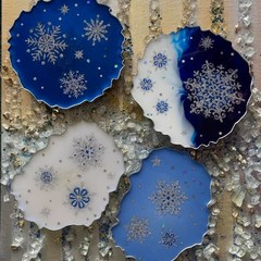 "Handmade Resin Coasters SET  ""Snowflakes"""