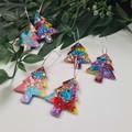 Deck the Halls Christmas Tree - Button - Glitter Dangle earrings