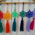 Set of 6 Crochet Star Christmas Decorations