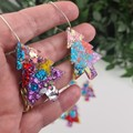 Deck the Halls Christmas Tree - Button - Glitter Dangle earrings