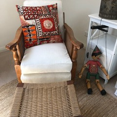 A Set of 2 cushion covers made from Vintage HAWAIIAN bark cloth