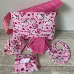 Dolls Nappy bag set, Hello Kitty print, girls gift