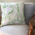 A Set of 2 White jacquard with Green print, Cotton cushion covers