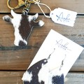 Rustic, Genuine Cowhide Key Chain/ Earrings Gift Set, Brown/White