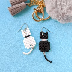 6 Colours Cat Earrings with Dangly Tails - Cute animal & pet jewellery