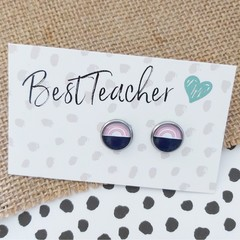 Glass dome stud earrings Pink rainbow with navy