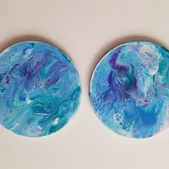 Hand Painted Coasters 2 Set