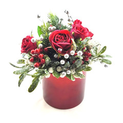 Red & Silver Christmas Flower Arrangement - Christmas Gift - Christmas Flowers