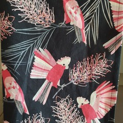 Pink and Navy Cockatoo Tea Towel
