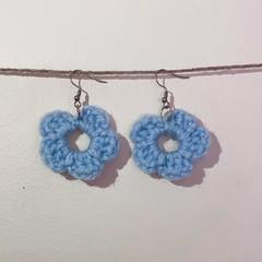 Basic flower earrings - Blue