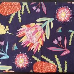 Pink and Navy Australian Natives Tea Towel
