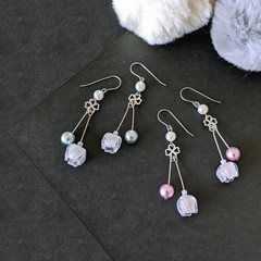 Bell Flower Duo Drop Earrings (Lavender Purple/ Ice Blue)