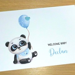 Baby Boy or girl congratulations card - baby panda with balloon