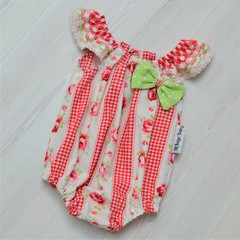 'Rose Gingham' Seaside Playsuit in Size 0000