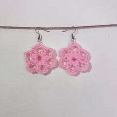 Round flower earrings - Pink