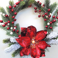 Special Order for Kate - Red & Gold Magnolia Christmas Wreath