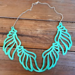 Statement Necklace, Genuine Leather, Turquoise
