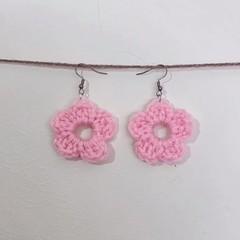 Basic flower earrings - Pink