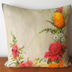 Vintage Australian Wildflowers Linen Cushion